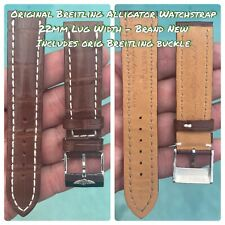 Breitling Cognac Alligator Watch Strap 22mm & Stainless Tang Buckle -Brand New