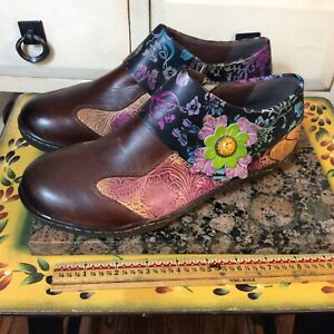 Socofy Vintage Women Leather Ankle Boot Floral Sz /39 Multicolor Zip F55
