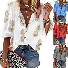 Women 3/4 Sleeve Shirts Top Baggy Casual Button Up Holiday Hawaii Blouse T-Shirt