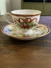 TIFFANY & CO HOLIDAY GARLAND JAPAN TEA CUP & SAUCER PLATE MINT GOLD ACCENTS