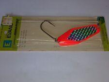 Vintage Glen Evans Fishing Lure Flectolite Salmon Spoon 3 1/2 Inch Fluor Red