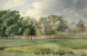 M. Conway, Hospital of St Cross, Winchester – Original 1885 watercolour painting