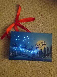 Small Festive Christmas Light up LED santa and reindeer scene