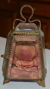 Superb Victorian Ladies' Pocketwatch Locket Beveled glass dresser display box