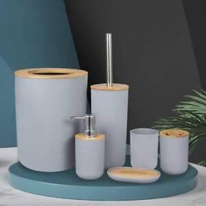 6Pcs-Set Bath Bathroom Accessories Bin Soap Dispenser Tumbler Toothbrush Holder