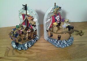 Pirate Ship Bookends Bears Resin Little Kids Children Room Nursery