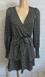 Black and White Polka Dot Layer Wrap Style Long Sleeve Dress Size 6 - 18