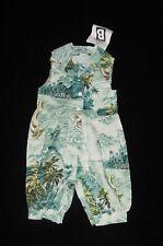 NWT Bercot Girls Hawaiian Tropical Print Bubble Romper 6 Months