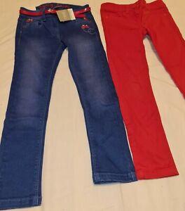 Next 6-7 7 fab skinny denim jeans ladybird ladybug blue red embroidery belt NEW