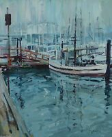 George WIlliam Bates CSMA FCA Vancouver False Creek Boats 24x20 Painting Listed