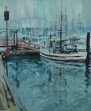 George WIlliam Bates CSMA FCA 1930-2009 Fishing Boats 24x20 Painting Canadian