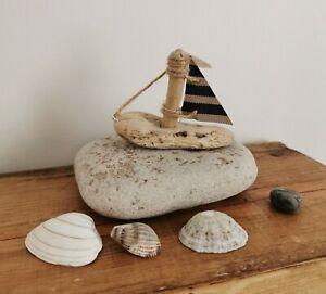 Handmade Driftwood Tiny Boat on a pebble Unique Rustic Coastal Ornament