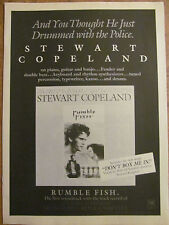 The Police, Stewart Copeland, Rumblefish, Full Page Vintage Promotional Ad