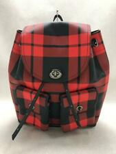COACH  Leather Red Check Leather Red Fashion Back pack 1056 From Japan