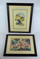 2 Vintage GERMAINE BOURET Art Prints Slalom & J'aime le son du cor, Framed