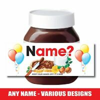 Personalised Nut Chocolate Spread Jar LABEL Sticker BIRTHDAY VARIOUS DESIGNS