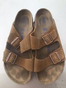 Men's Birkenstock Arizona Mink suede leather soft footbed slide sandals 9 R /42