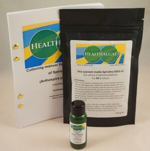 Live Spirulina platensis (30 ml) + 10 L dry grow medium SSD1+2 - algae culture