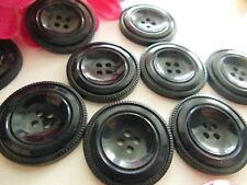 lot 6 gros boutons anciens bleu quasi noir 2,6 cm année 50  ref 2682