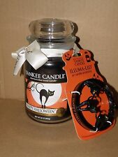 YANKEE CANDLE HAPPY HALLOWEEN  BLACK LICORICE JAR CANDLE & ILLUMA-LID NWT RARE