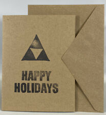 Handcrafted Legend Of Zelda Triforce Christmas Happy Holidays Blank Card Gift