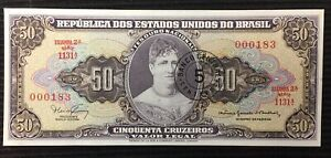 Brazil P-184a Five Centavo on 50 Cruzeiros Year 1966-67 Uncirculated Banknote