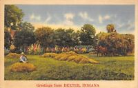 Dexter IN Overloaded Hay Wagon Greetings~Farmer w/His Piles of Hay~1941 Linen