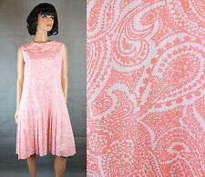 60s Scooter Dress Sz L Vintage Pink White Floral Paisley Sleeveless Mod Costume
