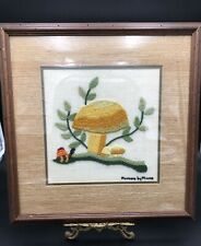 """Vintage Framed Needlepoint Titled """"Mushrooms By Moore�, Mushrooms With A Snail"""