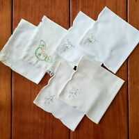 Vintage Cocktail Napkins Lot of 6 Linen & Cotton Mixed White Embroidered Canape