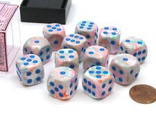 Festive 16mm D6 Chessex Dice Block (12 Die) - Pop Art with Blue Pips