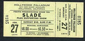 Original 1974 Slade Lynyrd Skynyrd Unused Concert Ticket Hollywood Palladium