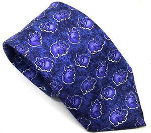 "PIGS ANIMALS Men's Tie Blue Novelty Fun 100% Silk 3.5"" Width 58"" Length"