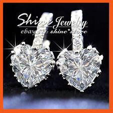 18K WHITE GOLD FILLED HEART DIAMOND ROW HUGGIES WOMENS XMAS GIFT SOLID EARRINGS