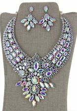 Clear Rhinestone Crystal Earring Post Necklace Set Bridal Wedding Party