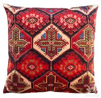 Red Floral Rug Cushion Cover Luxury Colorful Velvet Pillow Case Sofa Lounge Gift