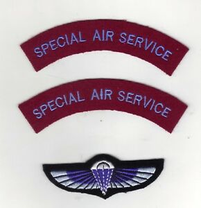 SPECIAL AIR SERVICE CLOTH SHOULDER TITLES/ PARACHUTE WINGS WW2 REPRODUCTIONS