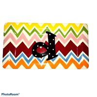 """Coton Colors Chevron Multi-color Monogram Initial """"d"""" Trinket Tray 7 3/4"""" Long"""