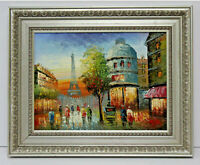 Eiffel Tower Paris Cityscape 12 x 16 Oil Painting on Canvas w/Custom Frame