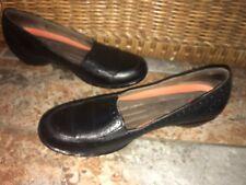 Clarks Structured Black Leather Slip On Wedge Loafers Shoes Women's US 8 N