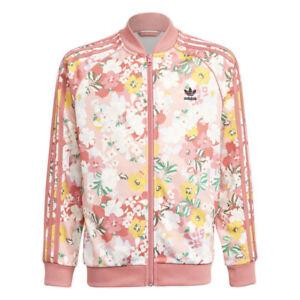 Adidas Junior Floral SST Trace Pink/Multicolor/Hazy Rose Track Jacket GN4218 NEW