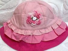 New Gymboree Pink Ruffles Hat Sunhat w/ Rose 3 6 Months Baby Infant Girls