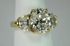 14k Yellow Gold Lady's Ring 3 Stone Setting Moissanite Center 3Ct + Two Side 1Ct