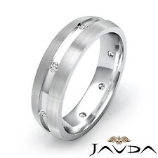 Men Diamond Solid Ring Matt Polished Finish Eternity Wedding Band Platinum 0.2Ct