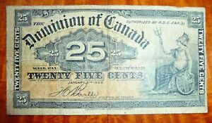 25 Cents Canadian Banknote P# 9b 1900  Fine