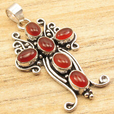 """OVAL CABOCHON RED CARNELIAN 6 STONE CROSS Pendant 2"""" ! 925 Silver Plated"""