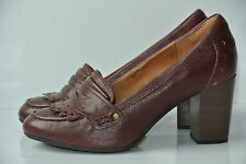CLARKS Indigo Town Green Womens Sz 6 M Brown Leather Pumps Heels 63140