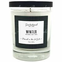 Scentsational Soy Blend Wax 11oz Cotton 1 Wick Winter Candle USA Poured - Winter