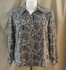 Notations, Size 14, Sepia Multi Paisley Print Button Front Top, New without Tags