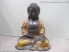 Tibet 100% Pure Bronze Handwork cloisonne Sakyamuni Shakyamuni Buddha Statue
